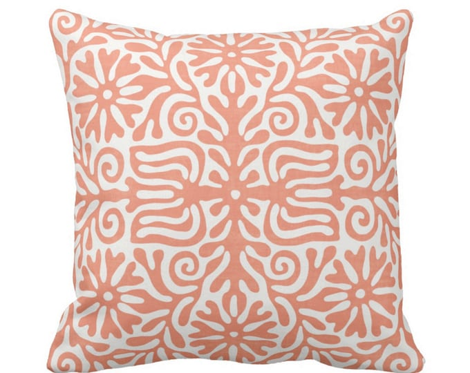 """OUTDOOR Folk Floral Throw Pillow or Cover, Coral 14, 16, 18, 20, 26"""" Sq Covers, Melon/White Flowers/Tribal/Batik/Flower/Boho Abstract Print"""