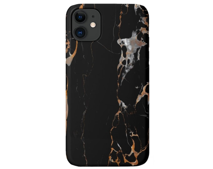 Black Marble iPhone 12, 11, XS, XR, X, 7/8, 6/6S, Pro/Max/P/Plus Snap Case or TOUGH Protective Cover, Veined Faux Stone/Marbled Print Galaxy
