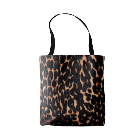 12a803a3d881 Leopard Print Market Tote Black and Brown Boho Animal Print