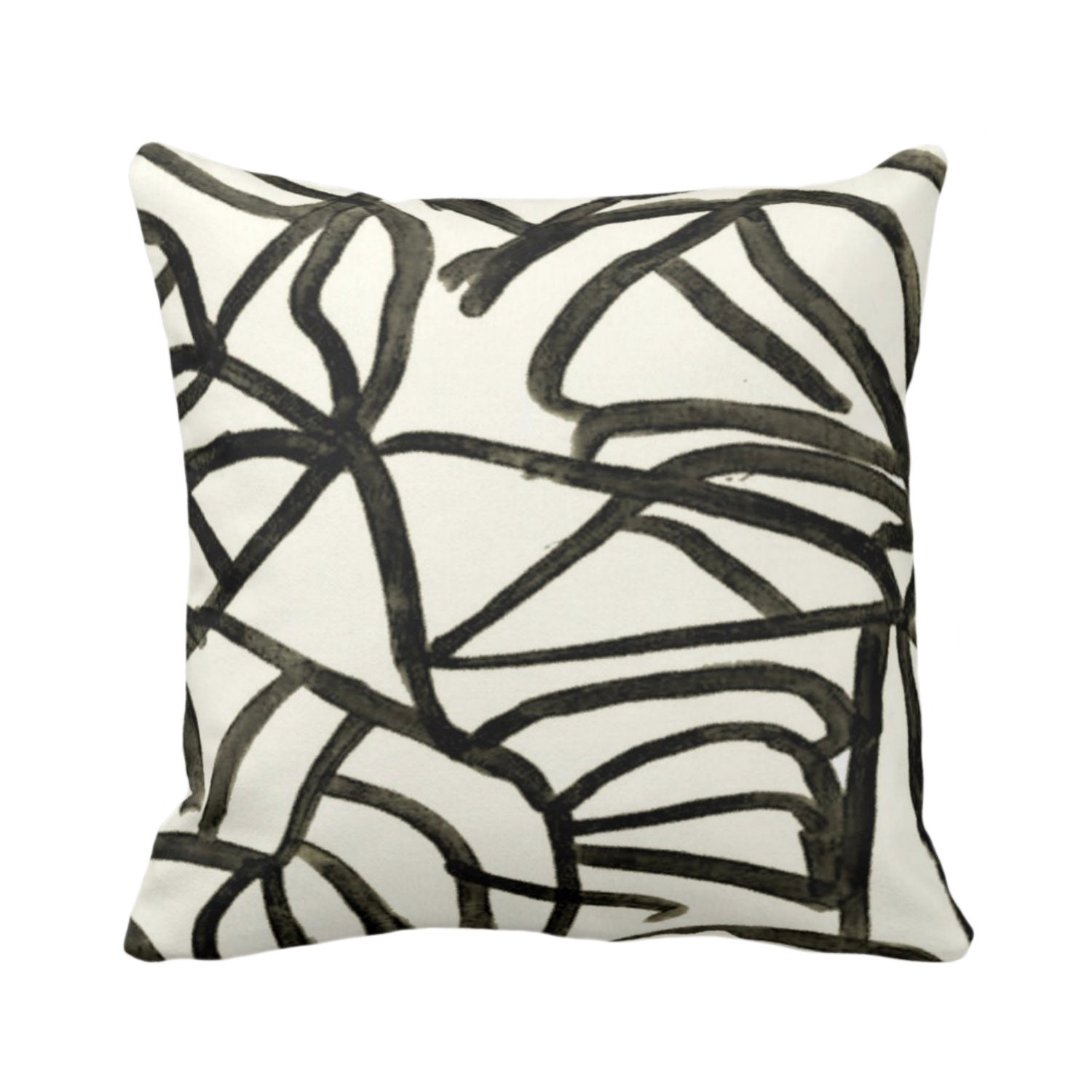 OUTDOOR Abstract Throw Pillow or Cover, Ivory/Charcoal 16, 18, 20 Sq
