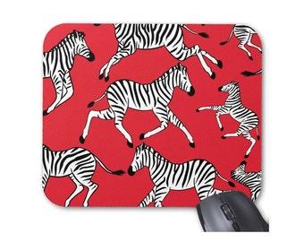 Zebras Mouse Pad, Masai Red, Black & White Mousepad, Zebra Print/Pattern