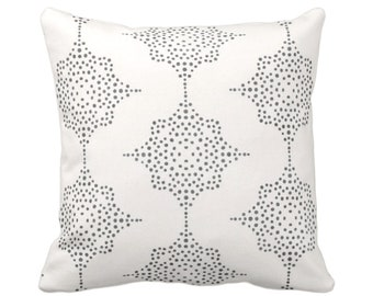"""OUTDOOR Block Print Stars Throw Pillow or Cover Charcoal Gray/Ivory 14, 16, 18, 20, 26"""" Sq Pillows/Covers Blockprint/Boho/Geometric/Star/Geo"""