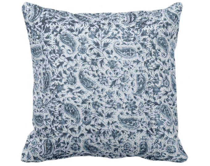 "Worn Floral Throw Pillow/Cover, Surf Blue 14, 16, 18, 20, 26"" Sq Pillows/Covers Dark Ocean Vintage/Natural/Subtle/Boho/Tribal Print/Pattern"