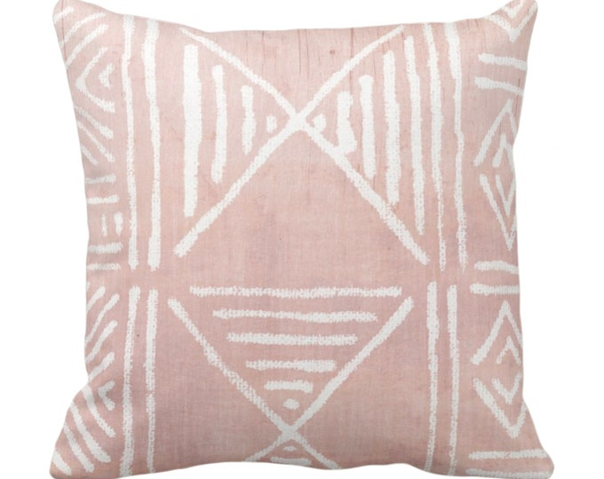 """OUTDOOR Mud Cloth Printed Throw Pillow or Cover, Faded Pink 14, 16, 18, 20, 26"""" Sq Pillows/Covers, Mudcloth/Boho/Geometric/African Print"""