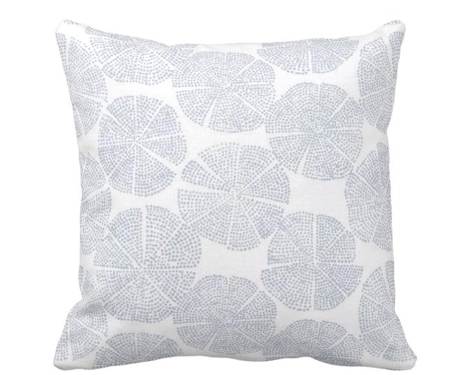 "SALE/READY 2 SHIP Block Print Throw Pillow Cover, Geo/Circles Chambray/Off-White 14"" Sq Dusty Blue Blockprint/Batik/Boho/Print"