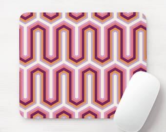 Retro Geo Print Mouse Pad, Pink/Purple/Orange/White/Gray Minimal/Vintage Pattern Mousepad/Mousepads, Arches/Hicks/Gates Geometric