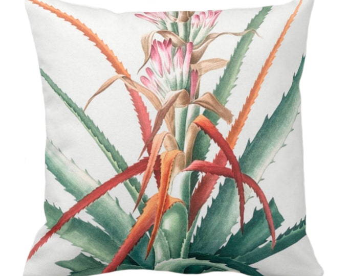 """Vintage Botanical Red/Orange/Pink Bromeliad Throw Pillow or Cover, 14, 16, 18, 20, 26"""" Sq Pillows/Covers Tropical/Nature/Plant Print/Pattern"""
