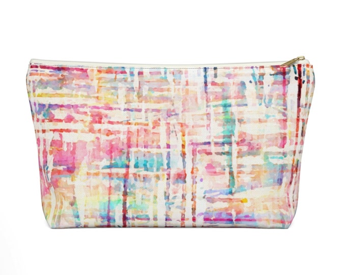 Watercolor Tweed Zippered Pouch, Cosmetics/Pencil/Make-Up Organizer/Bag Off-White Colorful/Multicolored Stripes/Lines Print/Pattern/Design