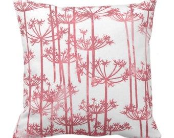 "OUTDOOR Allium Throw Pillow/Cover, Earthy Pink/White Print 14, 16, 18, 20, 26"" Pillows/Covers Modern Botanical/Leaves/Nature/Farmhouse Print"