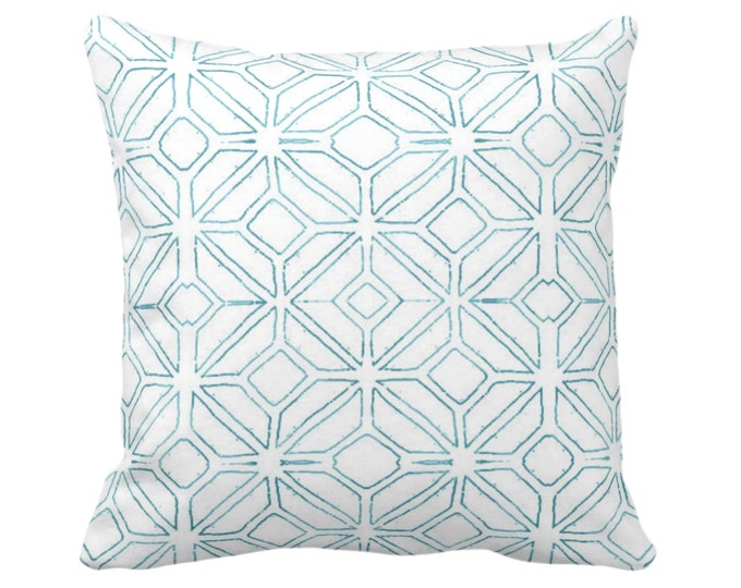 """OUTDOOR Tribal Trellis Throw Pillow or Cover, Teal/White 14, 16, 18, 20, 26"""" Sq Pillows/Covers Blue Geometric/Diamond/Triangle Print/Pattern"""