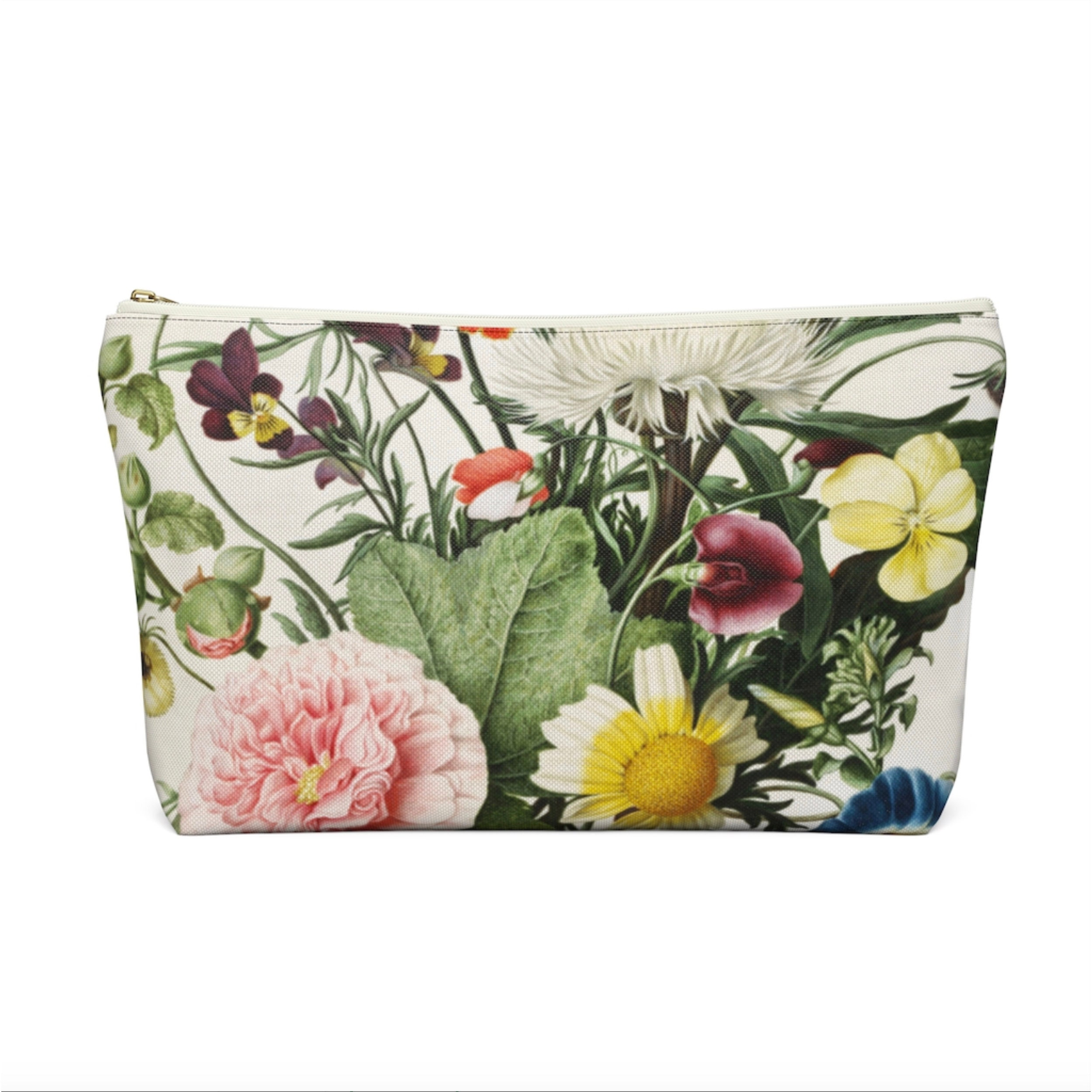 Green Floral Vintage Pattern Large Zippered Pouch