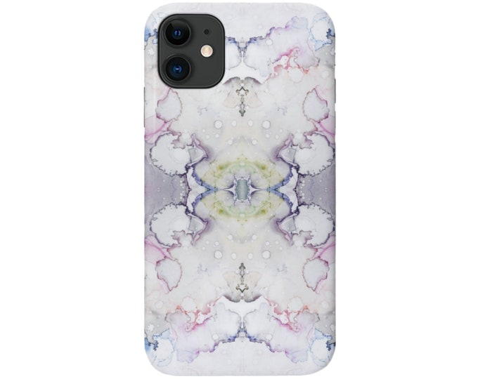 Mirrored Abstract iPhone 12, 11, XS, XR, X, 7/8, 6/6S Pro/Max/P/Plus Snap Case/TOUGH Protective Cover Gray/Pink/Purple Watercolor/Marble