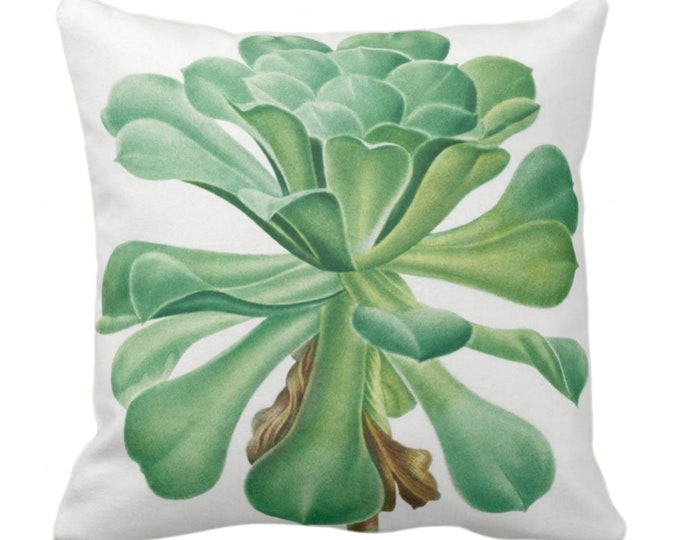 """OUTDOOR Vintage Botanical Succulent Throw Pillow or Cover, 14, 16, 18, 20, 26"""" Sq Pillows/Covers Green Succulents/Nature/Plant/Floral Print"""