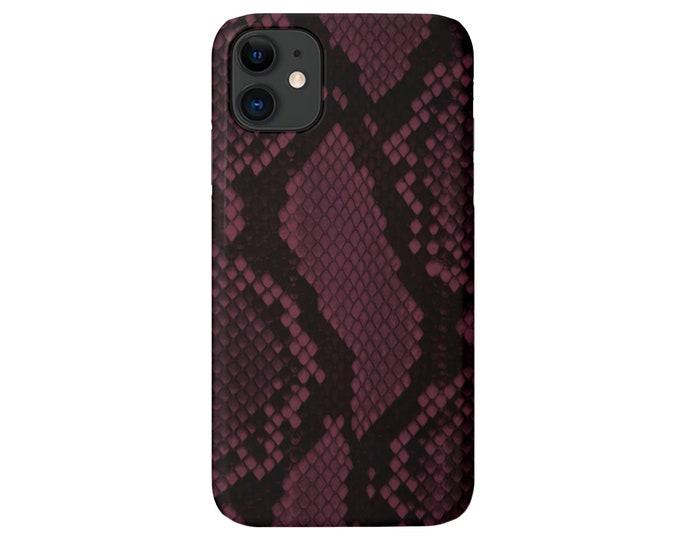 Plum Snakeskin Print iPhone 12, 11, XS, XR, X, 7/8, 6 Pro/Max/Plus/P Snap Case or TOUGH Protective Cover Raisin/Burgundy/Wine Snake/Animal