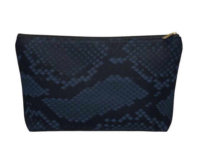 Navy Snakeskin Print Zippered Pouch, Animal Printed Design, Cosmetics/Pencil/Make-Up Organizer/Bag, Dark Blue/Black Snake/Reptile Pattern