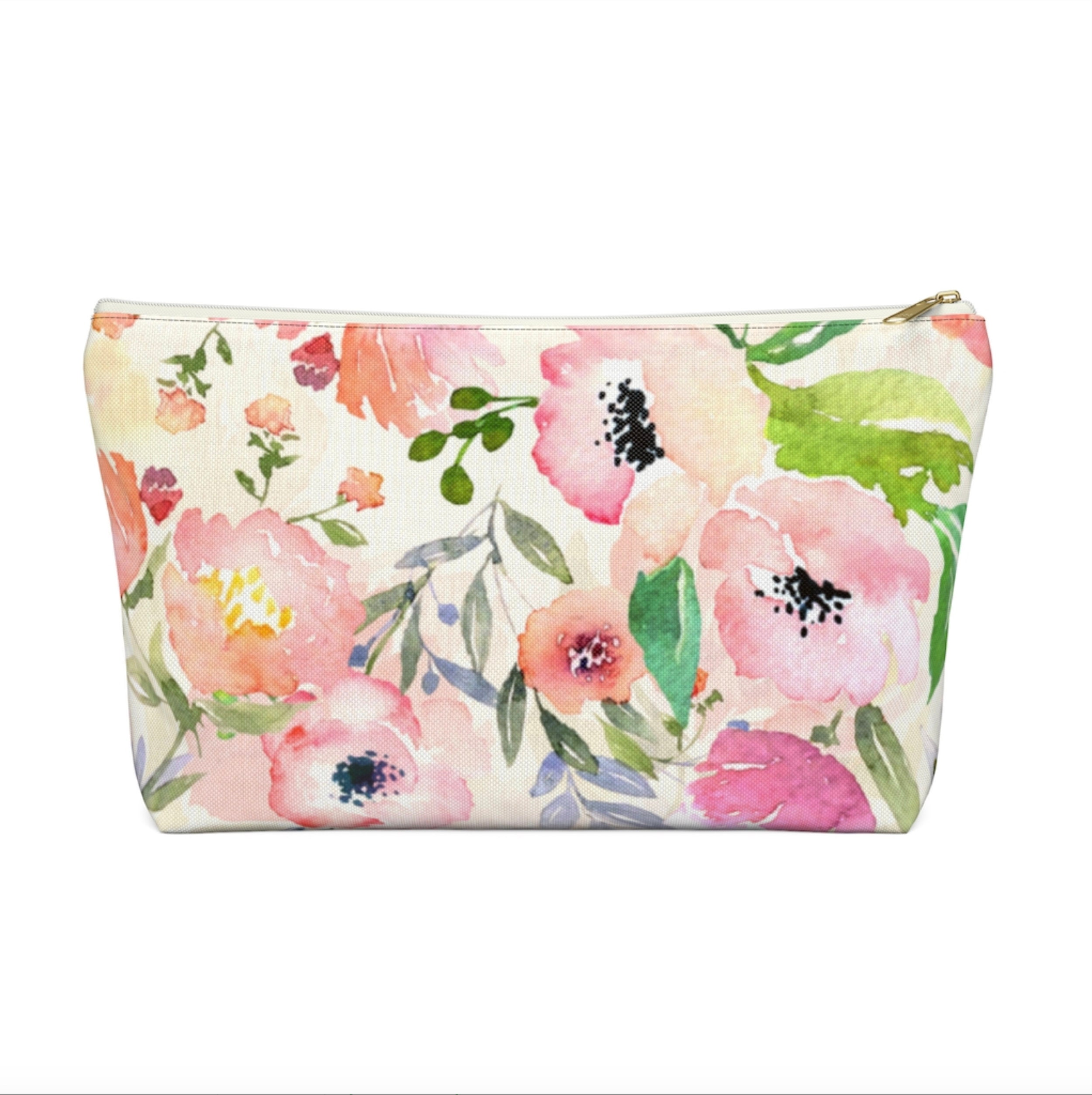 pink floral zipper pouch