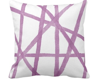 """OUTDOOR Hand-Painted Lines Throw Pillow/Cover, White/Lavender 14, 16, 18, 20, 26"""" Sq Pillows/Covers, Purple Abstract Modern/Geometric Print"""