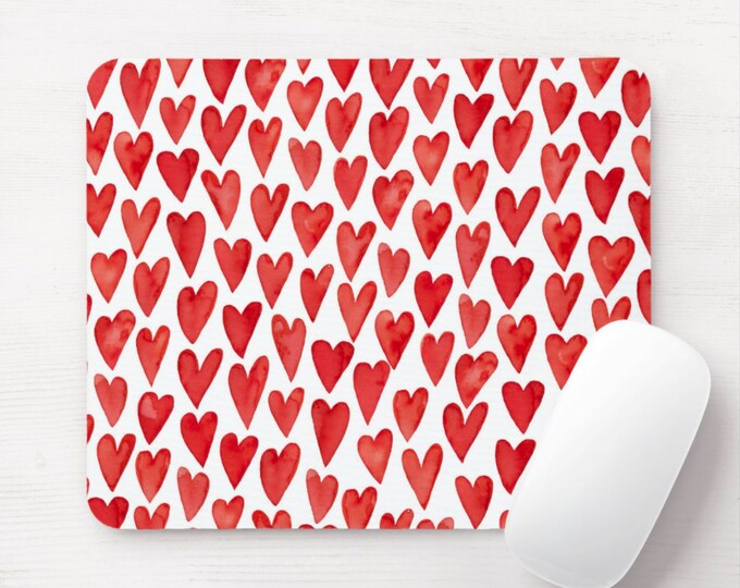 Watercolor Hearts Mouse Pad, Red &  White Mousepad, Hand Painted Print/Pattern, Modern/Minimal Heart Valentine's Day Bright/Happy