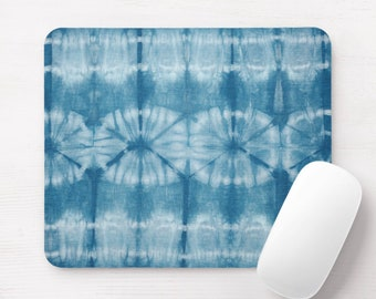 Indigo Mud Cloth Print Mouse Pad, Bright Blue Stripes & Circles Pattern Mousepad