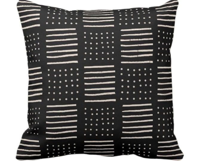 """OUTDOOR Mud Cloth Printed Throw Pillow or Cover, Lines/Dots Black/Off-White 14, 16, 18, 20, 26"""" Sq Pillows/Covers, Mudcloth/Geo/Boho/Tribal"""