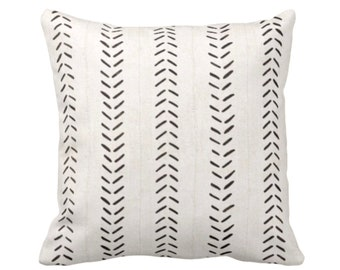 """Mud Cloth Printed Throw Pillow or Cover, Off-White/Black 14, 16, 18, 20, 26"""" Sq Pillows or Covers, Mudcloth/Boho/Arrows/Tribal/Design"""