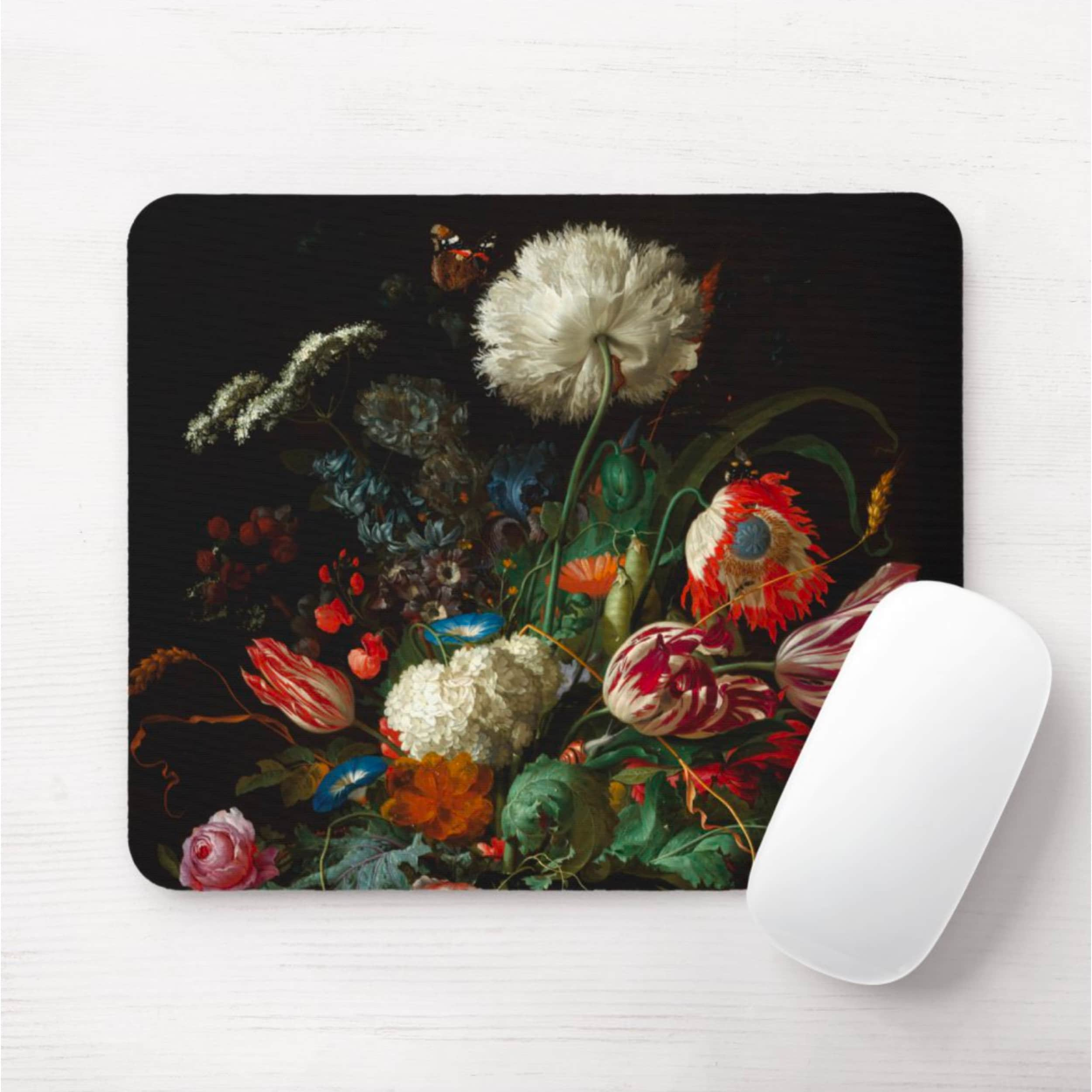Dutch Floral Mouse Pad Mousepad Black Dark Flowers Butterfly