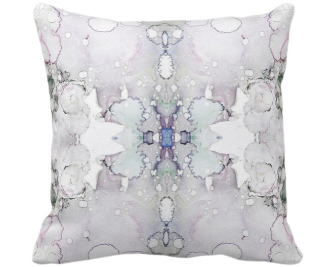 """OUTDOOR Mirrored Watercolor Throw Pillow or Cover 14, 16, 18, 20, 26"""" Sq Pillows/Covers Abstract Modern/Minimal Purple/Gray Painted Print"""