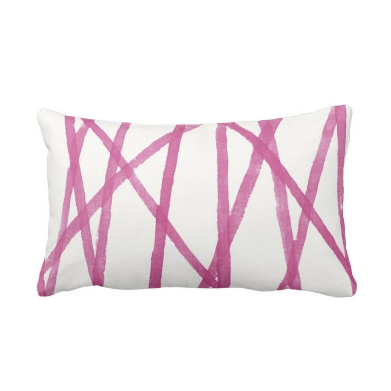 Fuchsia Hand-Painted Lines Throw Pillow or Cover ChannelsStripes Abstract Print PinkWhite 14 x 20 Lumbar Pillows or Covers