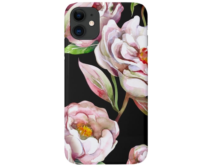 Peony iPhone 12, 11, XS, XR, X, 7/8, 6/6S Pro/Max/P/Plus Snap Case or Tough Protective Cover, Black Pink Floral/Flower Print/Pattern, Galaxy