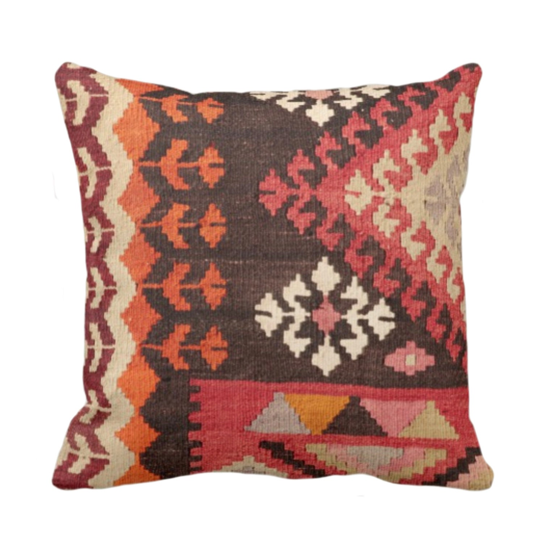Outdoor Turkish Rug Printed Throw Pillow Or Cover Boho Ethnic Geometric 14 16 18 20 26 Sq Pillows Covers Multi Geometric Tribal Print