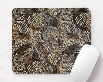 Leopard Camo Mouse Pad/Mousepad, Earth Tone/Tones Abstract Tribal Print/Pattern, Spots/Spotted/Geo Brown/Beige/Black