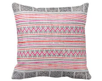 "Thai Batik PRINTED Throw Pillow or Cover, Indigo/Pink/Orange 14, 16, 18, 20 or 26"" Sq Cover or Pillows, Maio/Hmong Vintage Embroidery Print"