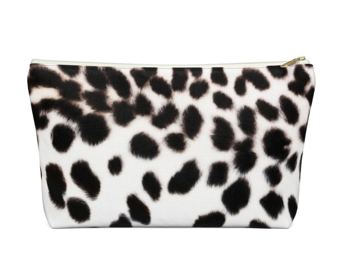 Snow Leopard Print Zippered Pouch, Black & White Animal Printed Design, Cosmetics/Pencil/Make-Up Organizer/Bag, Spots/Spotted/Dots Pattern