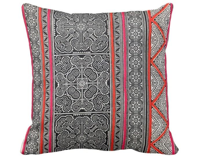 "Thai Batik PRINTED Throw Pillow or Cover, Indigo, Pink, Orange 14, 16, 18, 20 or 26"" Sq Pillows or Covers, Printed Vintage Textile"