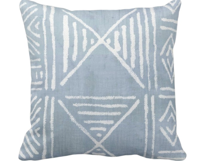 """Mud Cloth Printed Throw Pillow/Cover, Chambray 14, 16, 18, 20, 26"""" Sq Pillows/Covers Light Blue Mudcloth/Boho/Geometric/African/Tribal Print"""