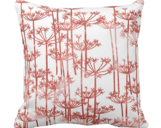 """Allium Throw Pillow or Cover, Red Clay/White Print 14, 16, 18, 20, 26"""" Sq Pillows/Covers, Modern Botanical/Leaves/Nature Farmhouse Pattern"""