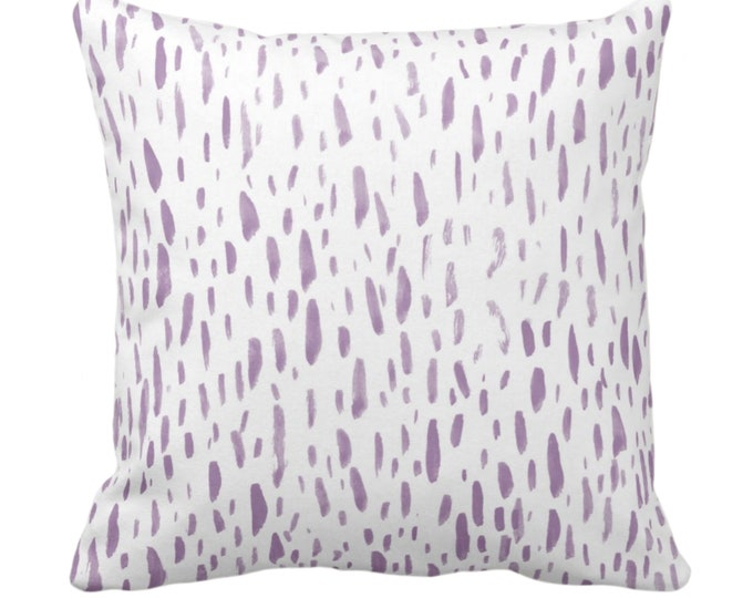 """OUTDOOR Hand-Painted Dashes Throw Pillow or Cover, Lavender/White 14, 16, 18, 20, 26"""" Sq Pillows/Covers, Light Purple Abstract/Modern Print"""