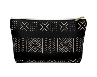 Mud Cloth Diamonds Zippered Pouch, Black & Off-White Tribal Design, Cosmetics/Pencil/Make-Up Organizer/Bag, Boho/African Geometric Pattern