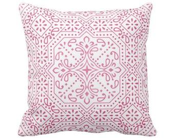"""OUTDOOR Tile Print Throw Pillow or Cover, Pink 14, 16, 18, 20, 26"""" Sq Pillows/Covers, Bright Fuchsia/White Geometric/Batik/Trellis/Boho/Geo"""