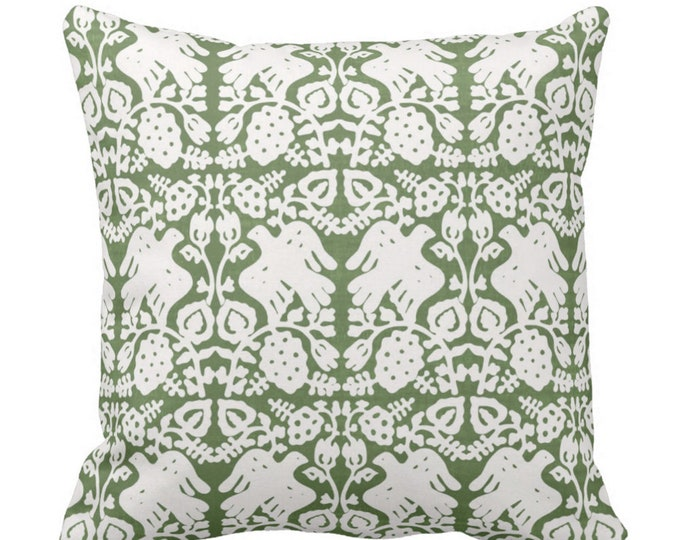 """Block Print Bird Floral Throw Pillow or Cover, Kale 14, 16, 18, 20, 26"""" Sq Pillows or Covers, Moss/Olive Green Blockprint/Boho Print"""