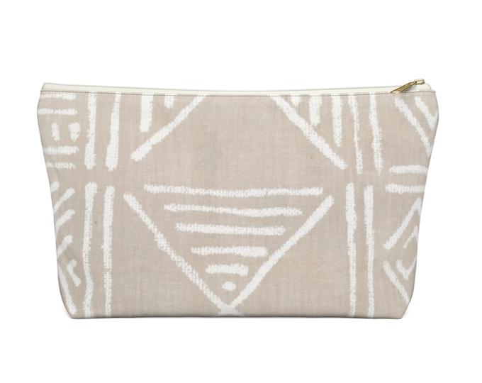 Mud Cloth Geo Print Zippered Pouch, Clay Beige & White Tribal Design, Cosmetics/Pencil/Make-Up Organizer/Bag, Boho/African Geometric Pattern