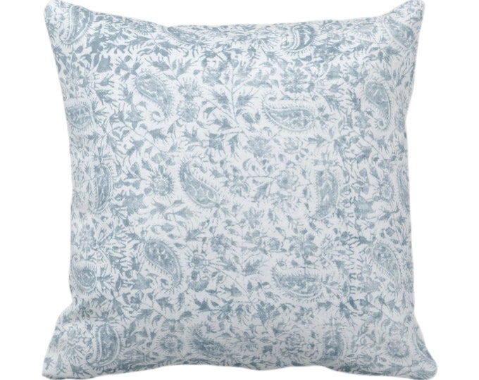 """OUTDOOR Worn Floral Throw Pillow/Cover, Vermeer Blue 14, 16, 18, 20, 26"""" Sq Pillows/Covers, Light Vintage/Boho/Natural/Tribal Print/Pattern"""