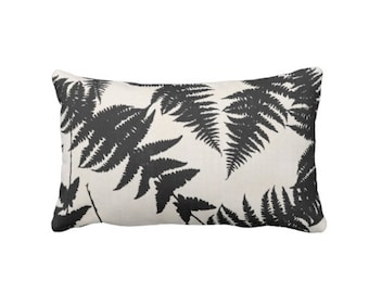"Fern Silhouette Throw Pillow/Cover, Ivory & Charcoal 14 x 20"" Lumbar OUTDOOR or INDOOR Pillows/Covers, Nature/Leaf/Leaves/Modern/Art Pattern"