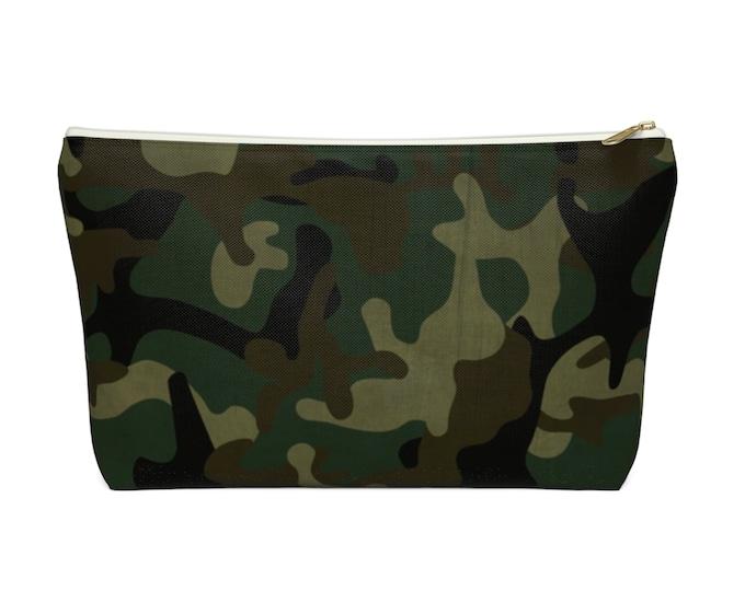 Camo Print Zippered Pouch, Green, Drab, Black Camouflage Design, Cosmetics/Pencil/Make-Up Organizer/Bag Woodland/Jungle Olive Design/Pattern