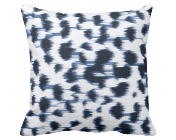 """OUTDOOR - READY 2 SHIP Ikat Abstract Animal Print Throw Pillow Cover 26"""" Sq Pillow Covers, Navy Blue/White Spotted/Dots/Spots/Geo/Dot"""