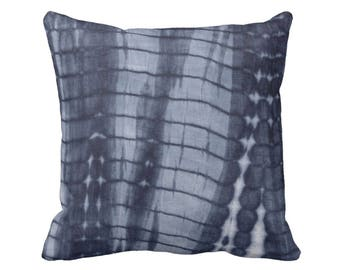 """Dark Indigo Mud Cloth Print Throw Pillow/Cover 16, 18, 20 or 26"""" Sq OUTDOOR or INDOOR Pillows/Covers, Navy/Blue Mudcloth/Boho/Tribal/Stripes"""