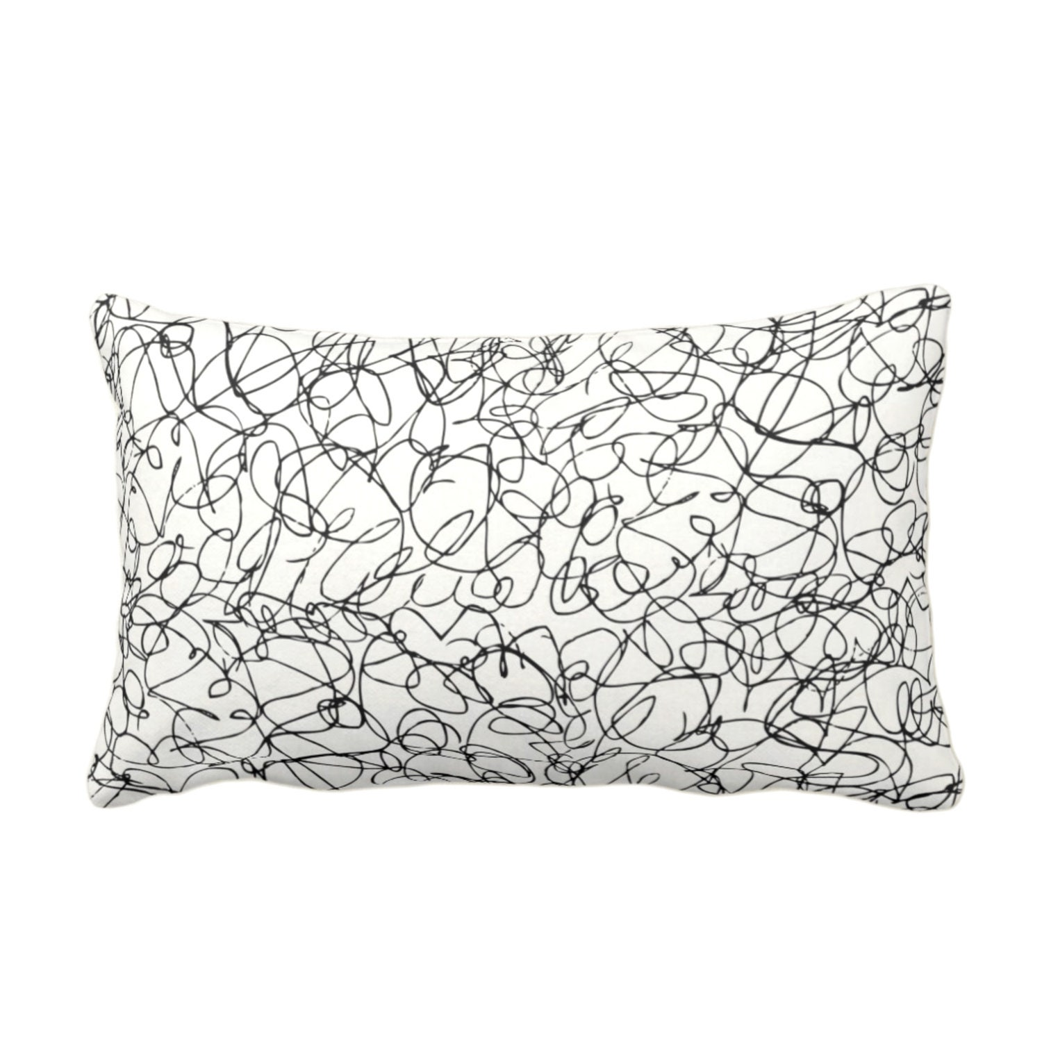 Scribble Lines Throw Pillow Or Cover Ivory Black 14 X 20