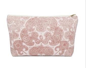 Batik Print Zippered Pouch, Sand Pink Tribal Design, Cosmetics/Pencil/Make-Up Organizer/Bag, Boho/Hmong/Floral/Geometric/Geo Pattern