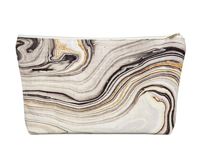 Marbled Print Zippered Pouch, Cosmetics/Pencil/Make-Up Organizer/Bag, Hand-Drawn/Painted Abstract Marble/Swirl Gray/Beige/Black Pattern