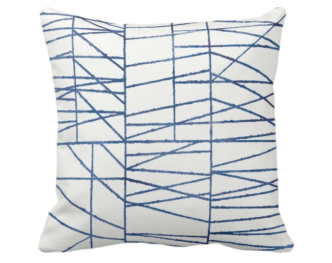 """OUTDOOR Navy Geo Print Throw Pillow or Cover 14, 16, 18, 20 or 26"""" Sq Pillows/Covers, Dark Blue/White Painted Geometric/Abstract/Lines/Lined"""